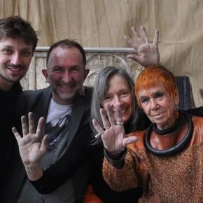 Damien Dechavanne, Lionel Baert, Dominique Dreyer et Isabel Echarri dans l'atelier de Paris, février 2016