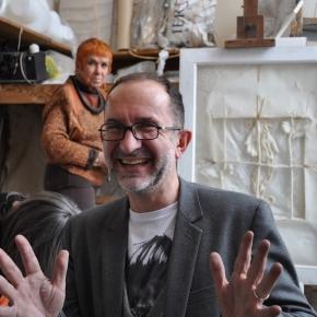 Lionel Baert et Isabel Echarri dans l'atelier de Paris