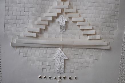 Ascendances et intersections Référence: IE 2016 DD #0033 Années 1980-1990 Papier sculpté dans boite plexi Signé et daté 75 x 60 x 5 cm Collection de l'artiste - Disponible